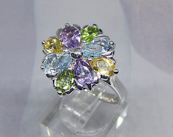 Silver ring with Amethyst, Topaz, Citrine and Peridot natural 3.55 Carats. Ring paved. Boho ring. Art Deco ring