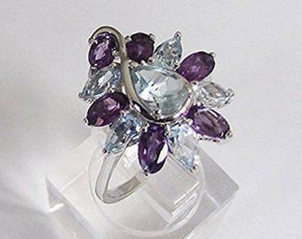 Ring Design in Sterling Silver Amethyst Blue Topaz size 55