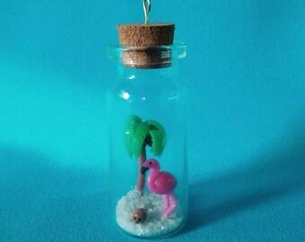 Flamingo - Beach - charm - handmade - glass bottle - polymer clay