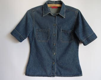 Blue  Denim Shirt/Women's Shirt/ Denim Shirt with Short Sleeves /  Shirt with Pockets/ Size: Medium