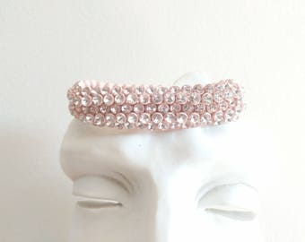 Vintage Antique Pink Rhinestone Adjustable Retractable Bracelet