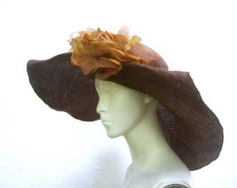 Chic Italian Breezy Brown Straw Flower Hat