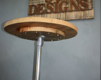 Poseur Plus Industrial Style Bar Table, Reclaimed Scaffold Board and Galvanised Steel. 66cm Top, Stronger Leg