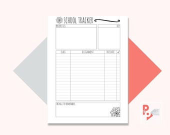 SCHOOL TRACKER Happy Planner Printable Insert, Create 365, Happy Planner Inserts, Happy Planner Classic, MAMBI Planner, Instant Download