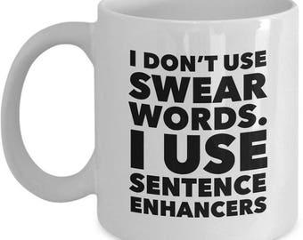 Funny Swear Words Coffee Mug - 11oz Ceramic Swearing Mug - Humorous Cussing Mug - Curse Words Mug For Women And Men - Cuss Words Mug