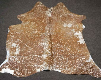 Gold and Brown Salt and Pepper Original Cowhide Rug - OG-264 [Size: 6'2 x 5'1]