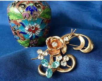 Coro Vintage Signed Flower Spray Brooch, Vintage 1940's Coro Brooch, Coro Floral Brooch, Coro Flower Spray Pin