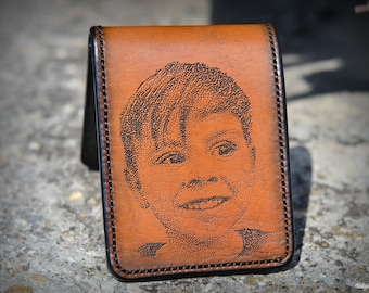 Child portrait hand engraved mens leather wallet, love statement , daily use accessory for men, handmade memorable high end gift for him