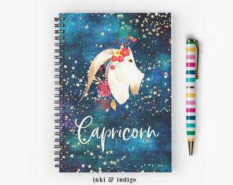 Capricorn - Spiral Notebook With Lined Paper, A5 Writing Journal, Cute Diary, Ruled Pages, Zodiac Sign Journal, Astrology