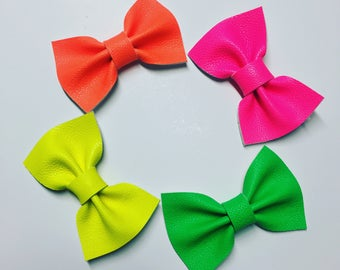 Faux Leather Maci Bow{neon pink}