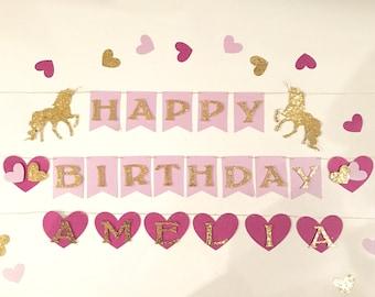 Unicorn Birthday Decorations - Unicorn First Birthday - Unicorn Banner - Unicorn Party - Unicorn Photo Banner - Unicorn and Hearts