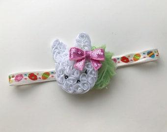 easter bunny headband - white bunny headband - easter headband - bunny bow - easter bow - spring headband