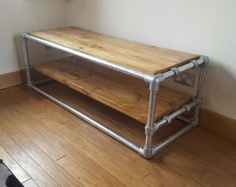 Industrial Style TV Stand Real Timber Steel Q-Clamp and Tubing