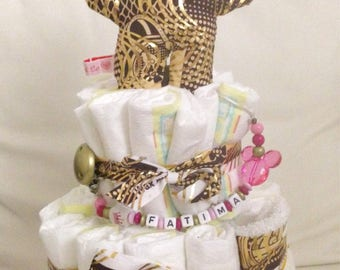 With pacifier diaper cake personalized mickey bandana bib baby and toy wax gold Brown