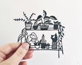 Botanical handmade papercut   Original art   papercut   monochrome   Botanical art   plant lovers   Gift for your home   Handmade