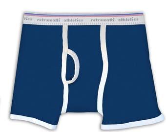 Navy Blue Retro Boxers, new, jockey, boxerbriefs, 80s, 70s, mens boxer briefs, y fronts, vintage underwear, unique, geek underwear