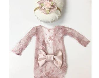 Newborn Girl Lace Romper Set, Newborn Photo Outfit, Newborn Flower Headband, Newborn Headband Photography, Newborn Photography Prop