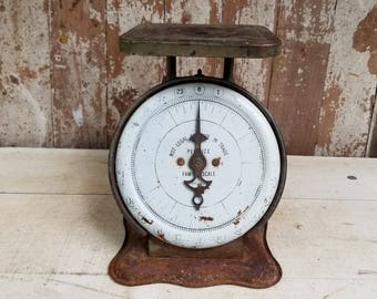 Vintage Green Pelouze Family Scale ~ Industrial ~ Cottage ~ Farmhouse ~ Primitive ~ Rusty Patina ~ Fixer Upper Style ~ Vintage Scale