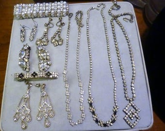 Large Lot of Vintage Rhinestone Jewelry-55 pieces