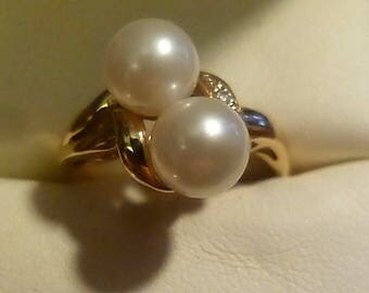 CFA Double Pearl 10 KT Gold Ring-Circle of Fine Arts