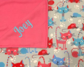 Personalized  cat blanket, embroidered cat blanket