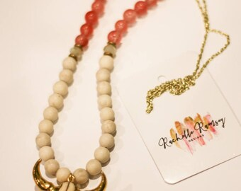 SALE**Cream/pink coral beaded cow skull statement necklace