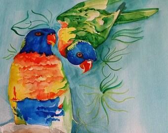 Rainbow Lorikeet Original Watercolour Painting