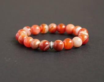 Orange carnelian jewelry Carnelian mala bracelet Sacral chakra jewelry Orange yoga bracelet Carnelian beaded bracelet Carnelian silver gift