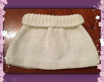 Skirt white wool 0/3 months