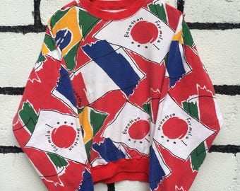 Vintage United Colors Of Benetton Sweatshirt All Over Print Multicolor Nice Design