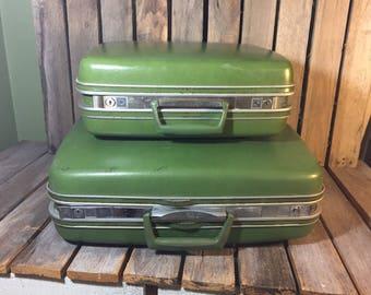 Vintage Green Samsonite Suitcases, Vintage Suitcase, Vintage Luggage