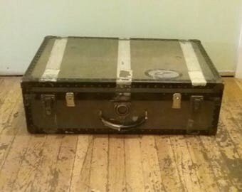 Watajoy Steamer Trunk, Black and Green Travel Trunk Made In England, Old Trunk, Antique Footlocker, Distressed Trunk, Wornout Trunk