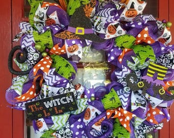 Halloween Mesh Door Wreath, Halloween Witch Wreath, the Witch is In, Halloween Door Decoration