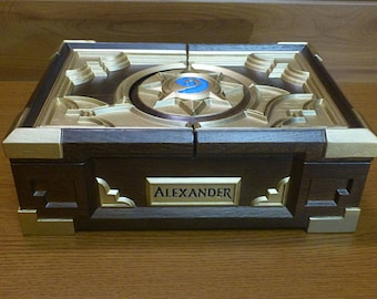 Custom Hearthstone Box Replica Personalized Wooden Handmade Casket Birthday Gifts Heroes of Warcraft Card Game Box