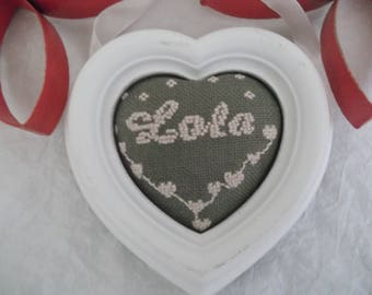 """embroidery name frame """"LOLA"""" on canvas"""