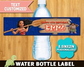 Moana water bottle label - Moana water bottle - Moana label - Moana Printable