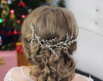 Bridal hair comb Pearl hair vine babys breath hair piece long hair vine wedding hair piece baby breath head piece babies breath hair jewelry