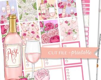 WINE PLANNER STICKERS, Rose Planner stickers, weekly kit printable, sticker kit for erin condren, sticker kit sales, floral planner kit