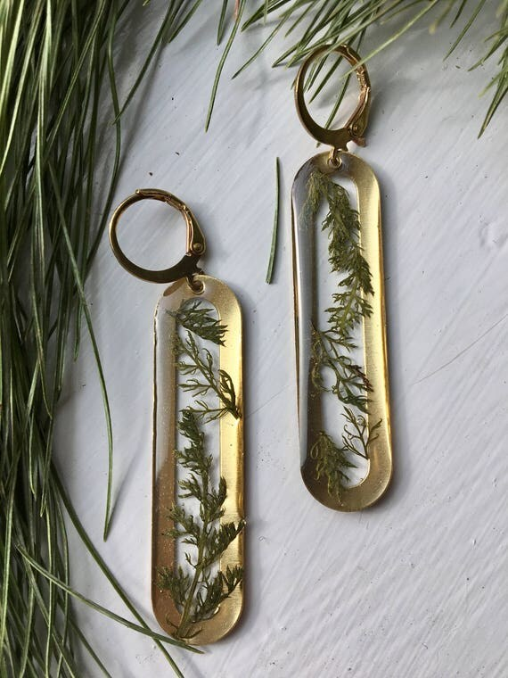 Yarrow leaves brass earrings