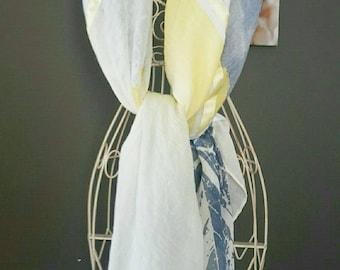 Large blue, white, yellow scarf. Scarf, shawl .blue silver. Yellow scarf. Blue and yellow flowers scarf. Jackets, coats