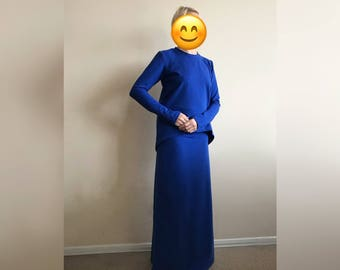 Maxi skirt jersey suit, long sleeve dress, jersey top, Muslim clothing, elegant hijab, navy blue suit, casual look