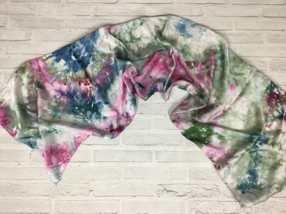 Coworker Gift! 100% Silk Oblong Scarf Hand Dyed Abstract Floral Watercolor Silk Scarves Teacher Gift Blue Pink Sage Green #181