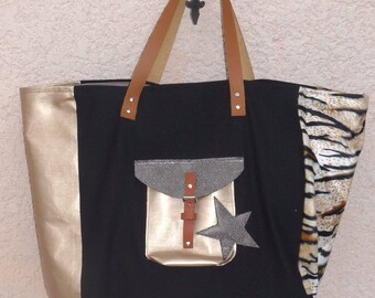 tote bag leather gold/black/leopard Pocket star style pomponette fur