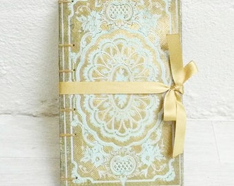 Unique Guestbook, Fairytale Wedding Vows, Journal for Writer, Boho Sketchbook, Blue and Gold Blank Book, Coptic Journal