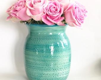 Handmade Green and Blue Flower Vase