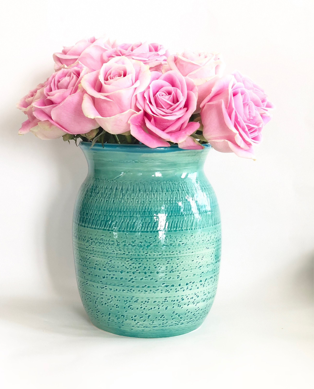 Handmade green and blue flower vase reviewsmspy