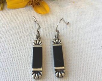 Handcrafted Vintage Onyx Earrings - Art Deco Design