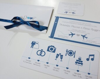 Wedding invitations Airfare with TIMELINE-Wedding Travel Theme