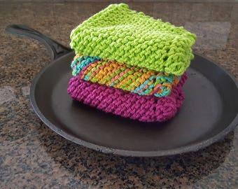 Hand Made, Hand Knit Dishcloths, Dish Cloth, Washcloths, Wash Cloth, Knitted, Cotton, Green, Pink, Blue, Orange