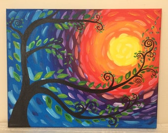 Whimsical sunset tree 11x14 painting // Van Gogh inspired // colorful sky